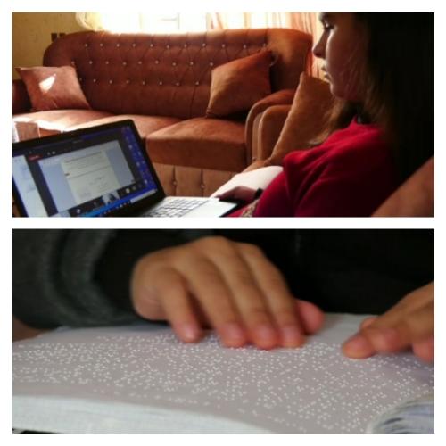طلبة مكفوفون.. التعليم سماعي من بيتوهم في ظل كورونا