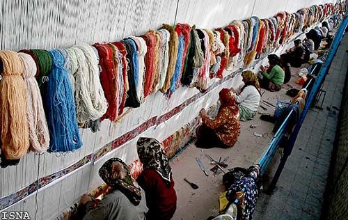 تصاویر بافت بزرگترين قالي جهان در نیشابور تابناک Tabnak