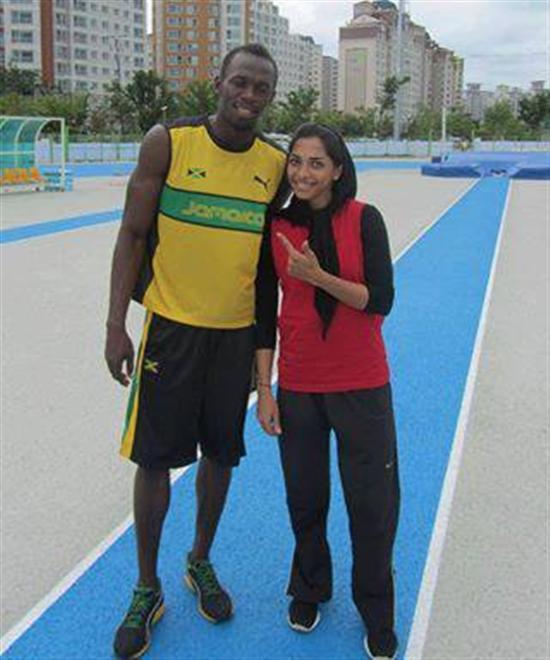 سریع ترین دختر ایران در کنار سریع ترین مرد جهان+عکس