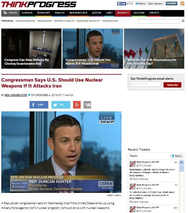 عضو کنگره آمریکا خواستار حمله اتمی به ایران شد
