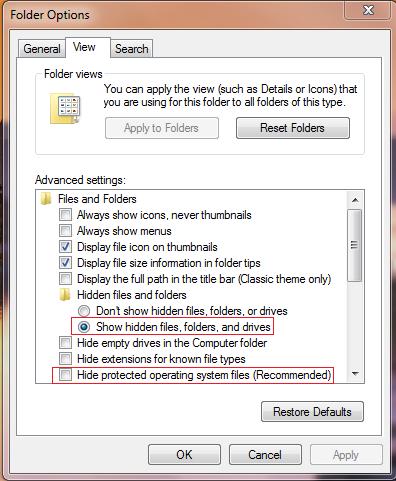 هک رجیستری ویندوز برای نمایش فایلهای Hidden