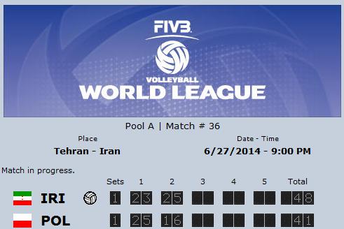 پیروزی مقتدرانه ایران برابر لهستان در ست دوم