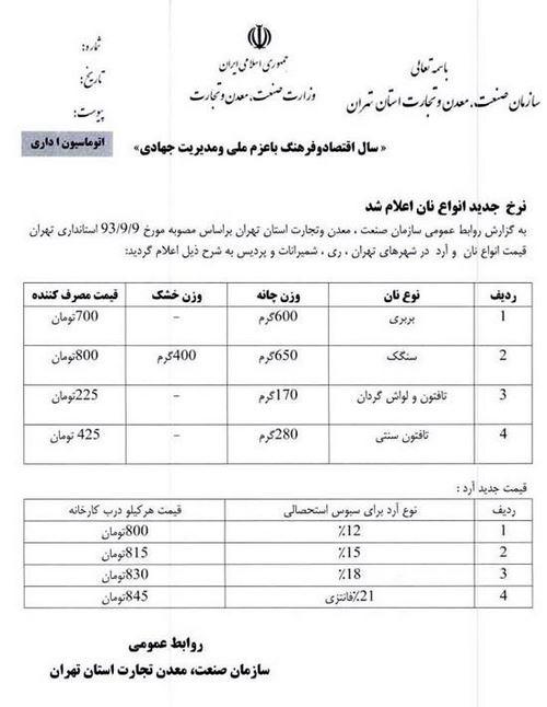 کاش دولت در افزایش قیمت نان به شیوه احمدی نژاد عمل می کرد
