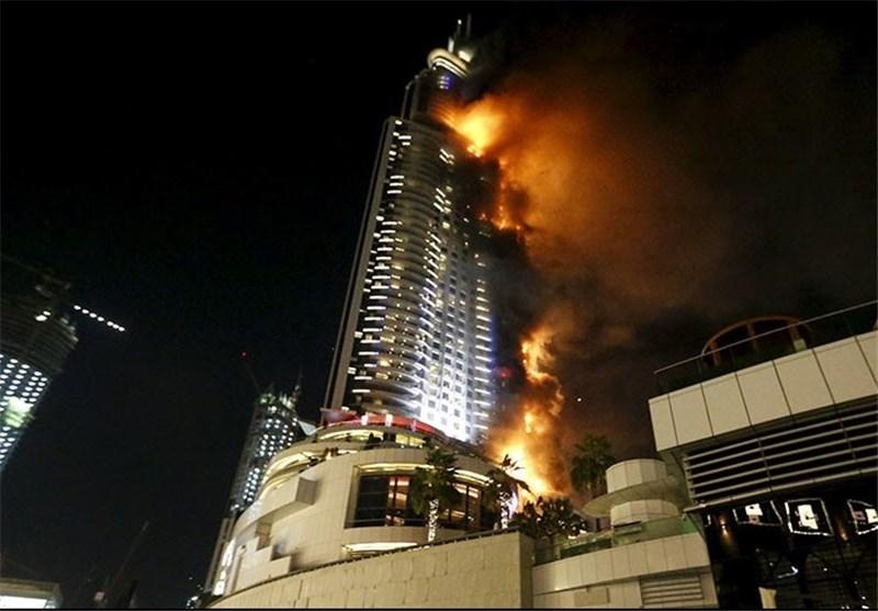 هتل ۶۳ طبقهای دوبی دچار آتشسوزی شد