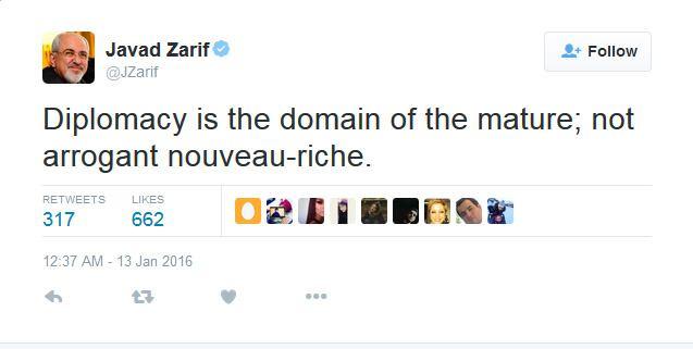 پاسخ توییتری ظریف به گستاخی وزیرخارجه امارات
