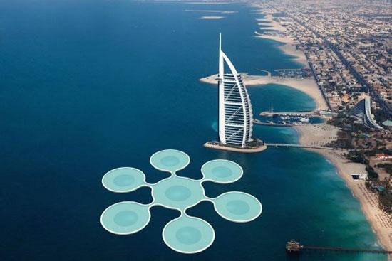 زمین تنیس زیر آبهای خلیج فارس!