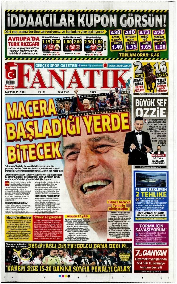 دنیزلی روی جلد روزنامه های ترکیه ای