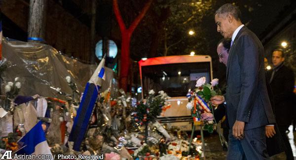 حضور باراک اوباما در محل وقوع حادثه در پاریس