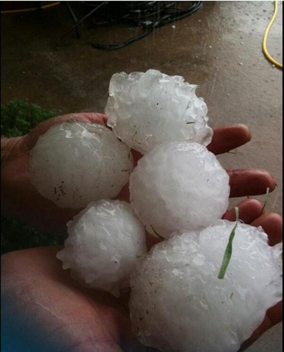 بارش تگرگ به بزرگی توپبیسبال در آمریکا
