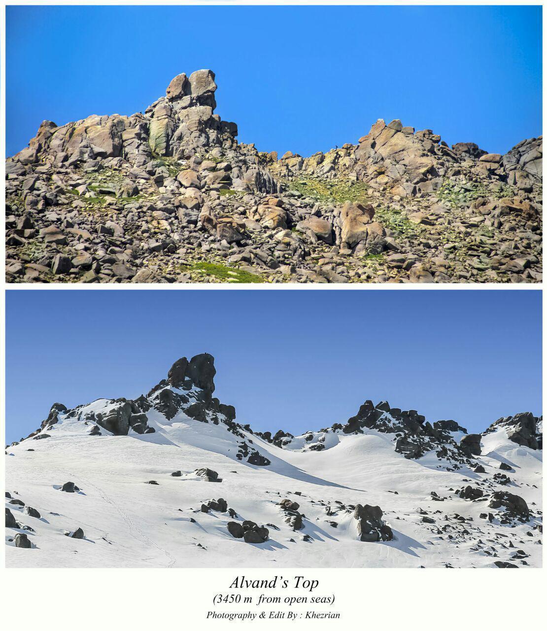 ارتفاعات کوه الوند در دو فصل متفاوت