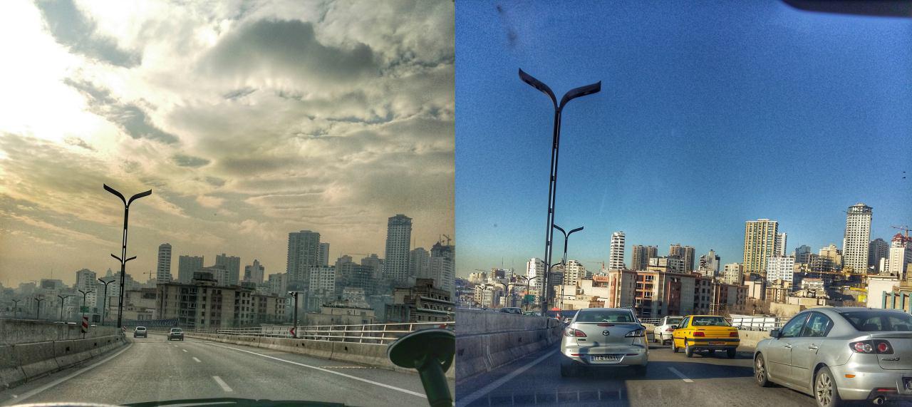 اختلاف میزان آلودگی تهران در بزرگراه صدر