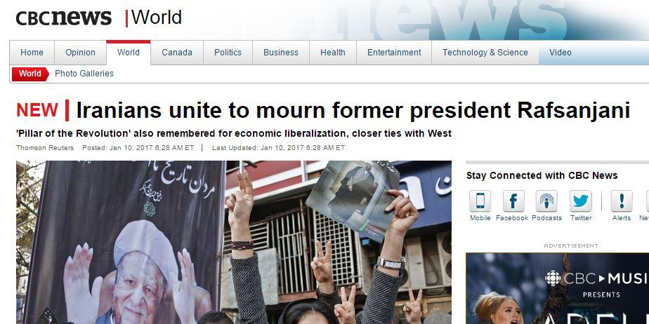 توجه رسانه های خارجی به نمایش اتحاد ملت ایران در مراسم تشییع آیت الله هاشمی