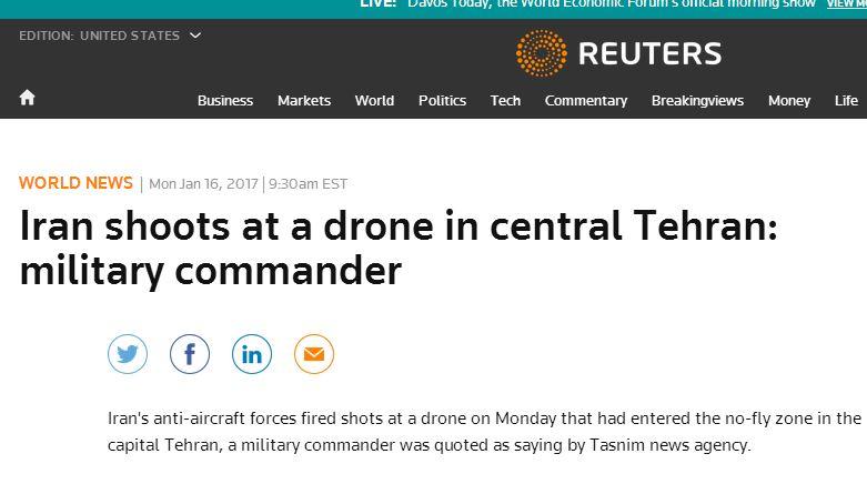 بازتاب شلیک ضدهوایی ها به آسمان تهران در خبرگزاری های جهان
