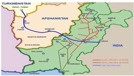 'تاپی' در مرحله تعیین مسیر خط لوله در پاکستان