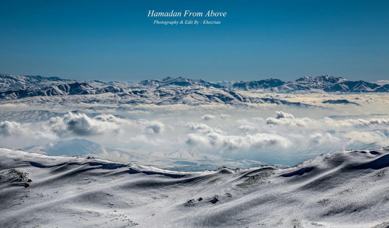 نمایی از بالای قله ی الوند در تویسرکان