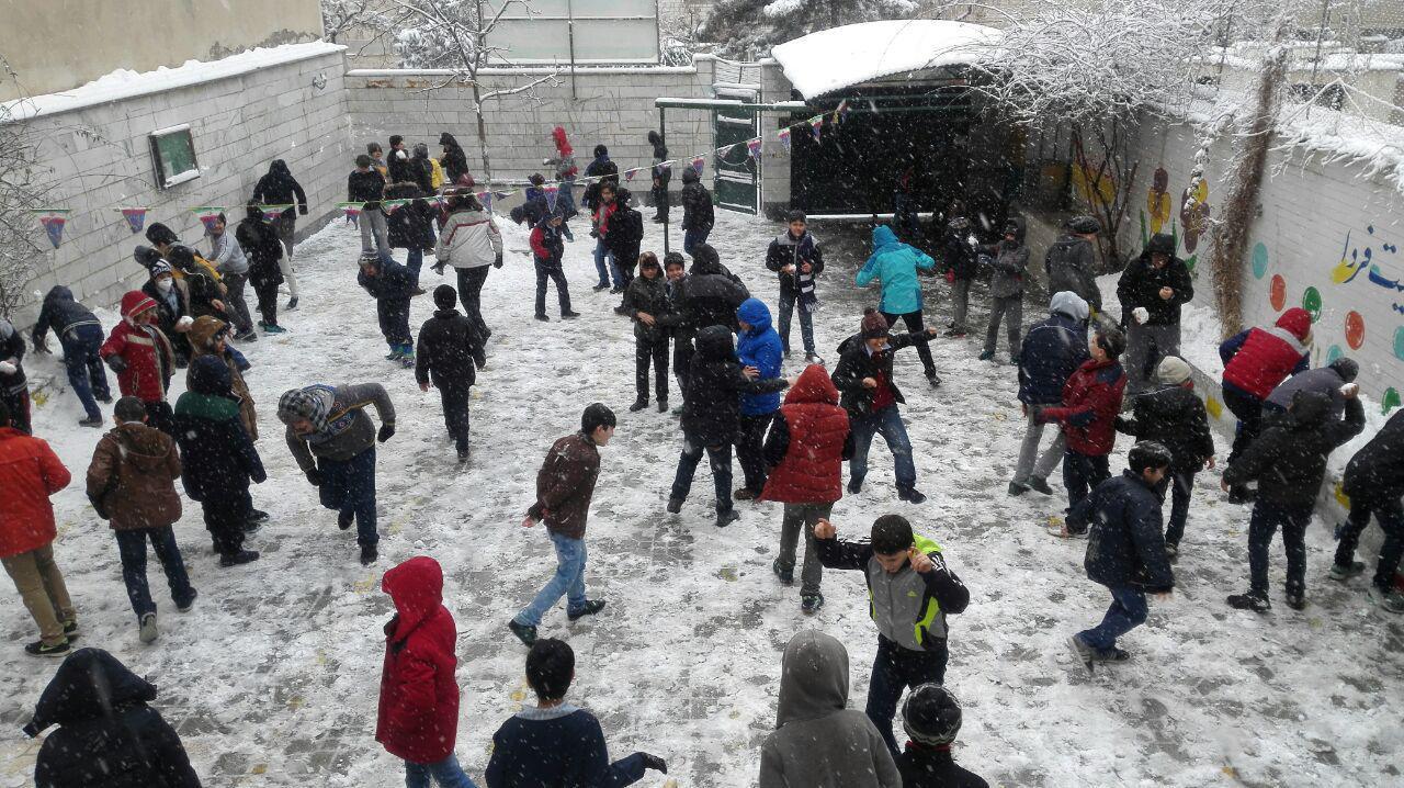 برف بازبودن مدارس کرج
