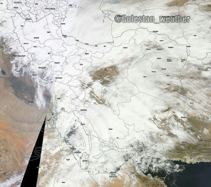 عکس ماهواره ناسا از آسمان امروز ایران