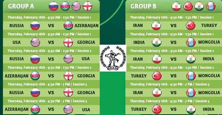 برنامه کامل جام جهانی کشتی آزاد