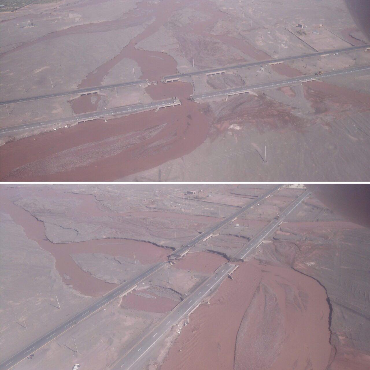 تصاویری از تخریب جاده بم-کرمان