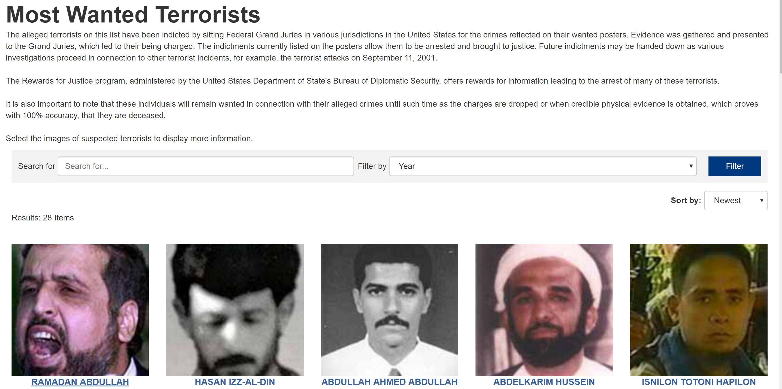 چند تن از تروریستها و نهادهای تروریستی مشخص شده در آمریکا ایرانی هستند؟