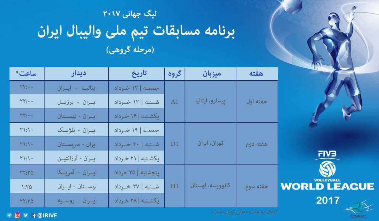برنامه مسابقات تیمملی والیبال ایران درلیگ جهانی2017