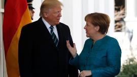 اولین دیدار ترامپ و مرکل در کاخ سفید