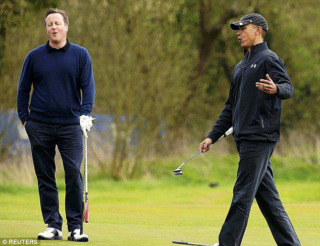 رقابت و کری خوانی اوباما و کامرون در بازی گلف