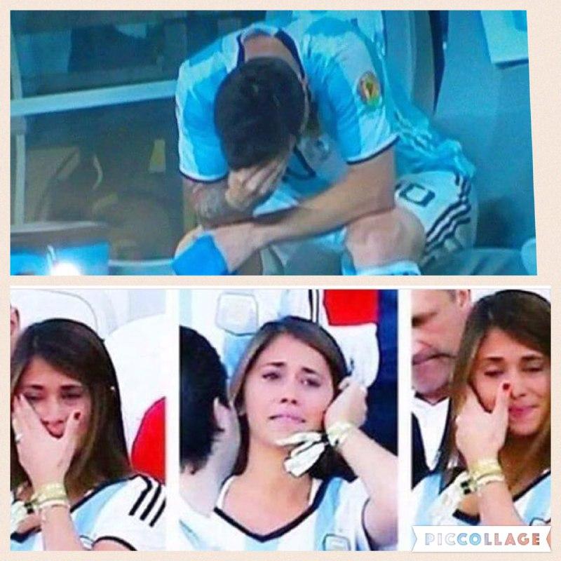 اشك هاي مسي و همسرش پس از دست دادن جام كوپا