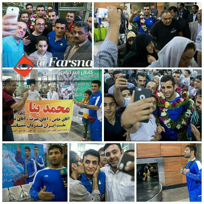 استقبال جالب مردم از بنا و کشتیگیران در فرودگاه امام(ره)