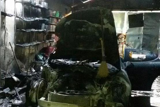 پورشه در مشهد خاکستر شد+عکس