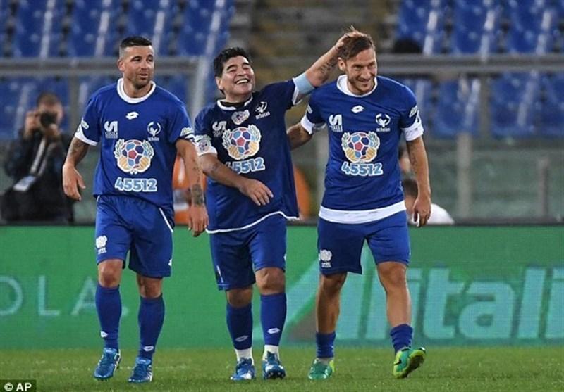 حضور مارادونا،توتی و رونالدینیو د دیدار صلح