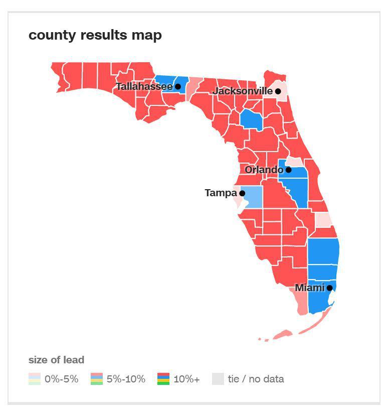 لحظه به لحظه با انتخابات آمریکا: ترامپ 84، کلینتون 97