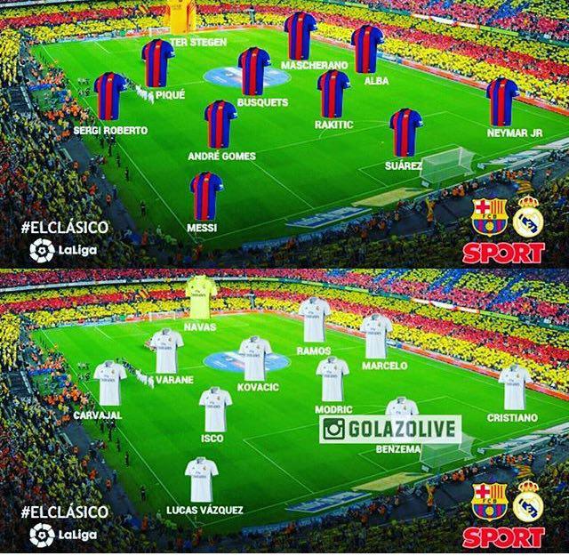 ترکیب بارسلونا و رئال مادرید اعلام شد/ انریکه و زیدان بدون سورپرایز
