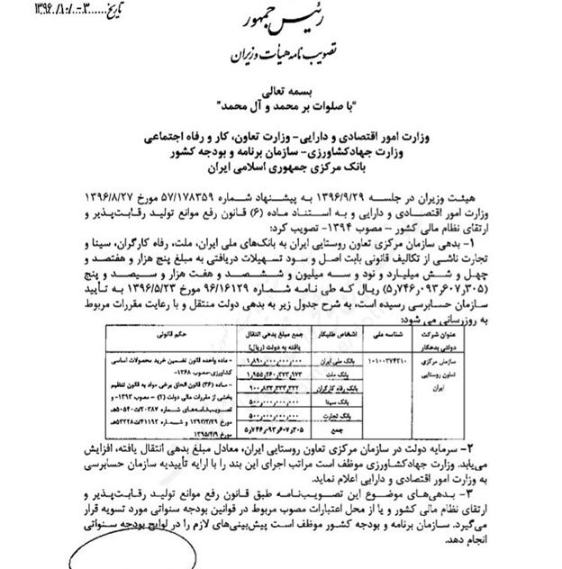 بدهی سازمان مرکزی تعاون روستایی ایران به ۵ بانک چقدر است؟