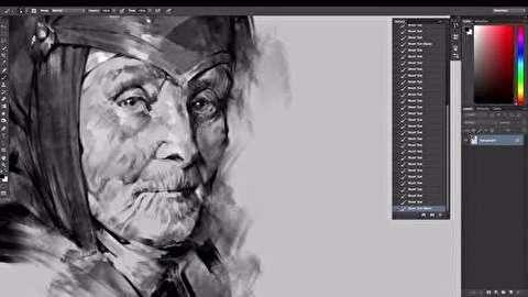 آموزش کشیدن نقاشی سیاه قلم دیجیتال