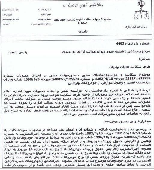 مصوبه افزایش تعرفه واردات خودرو باطل شد + سند