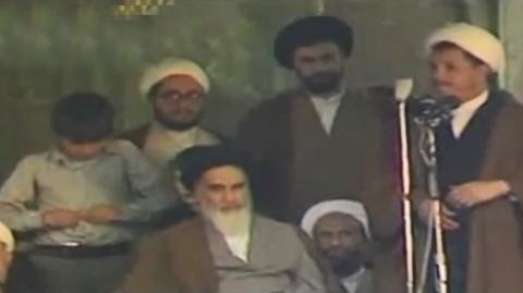 سخنرانی اکبر هاشمی رفسنجانی در کنار امام خمینی