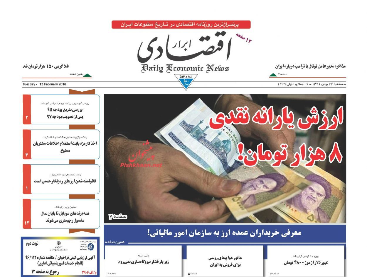 روزنامههای اقتصادی سه شنبه 24 بهمن ماه 96
