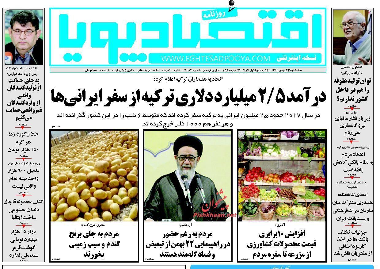 روزنامههای اقتصادی دوشنبه ۲۳ بهمن ماه ۹۶