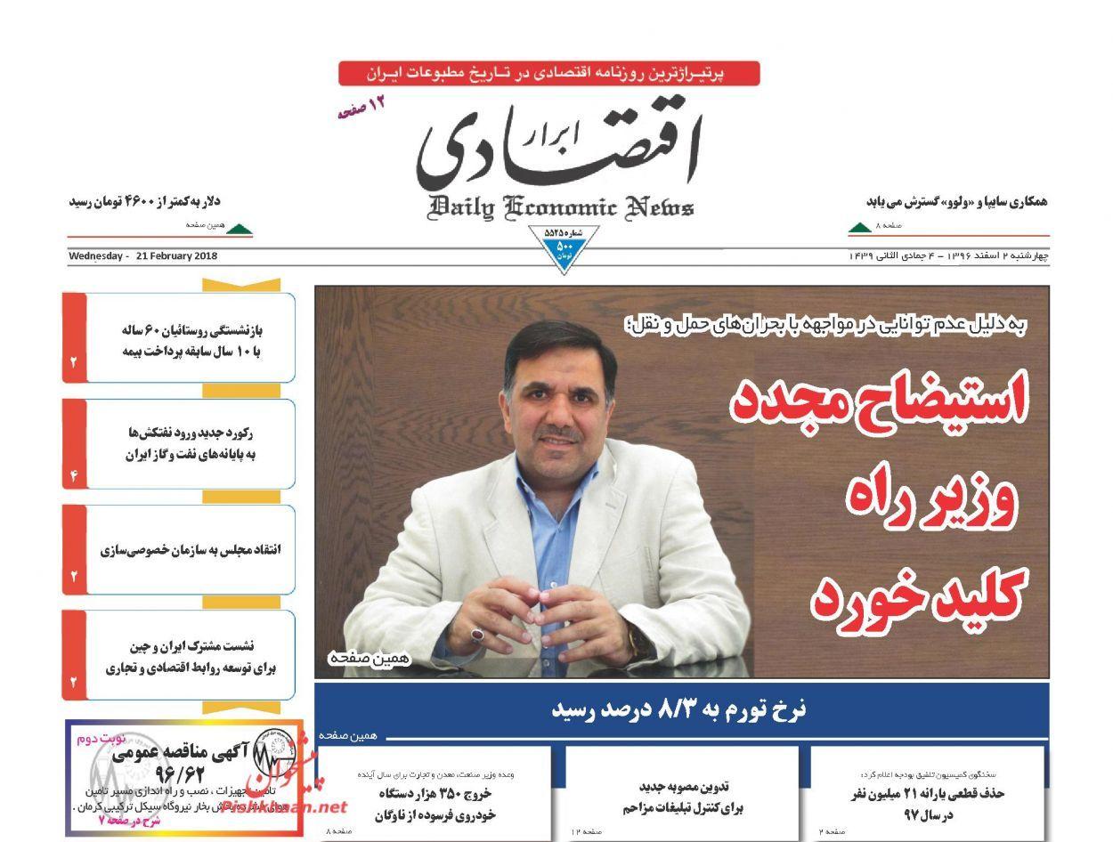 روزنامههای اقتصادی چهارشنبه دوم اسفندماه ۹۶