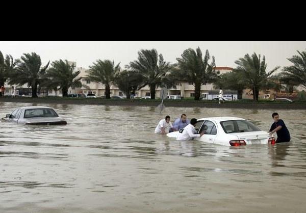 وقوع سیل شدید در جنوب غرب عربستان