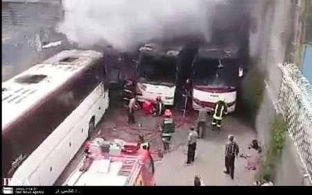 6 دستگاه اتوبوس در مشهد طعمه حریق شد