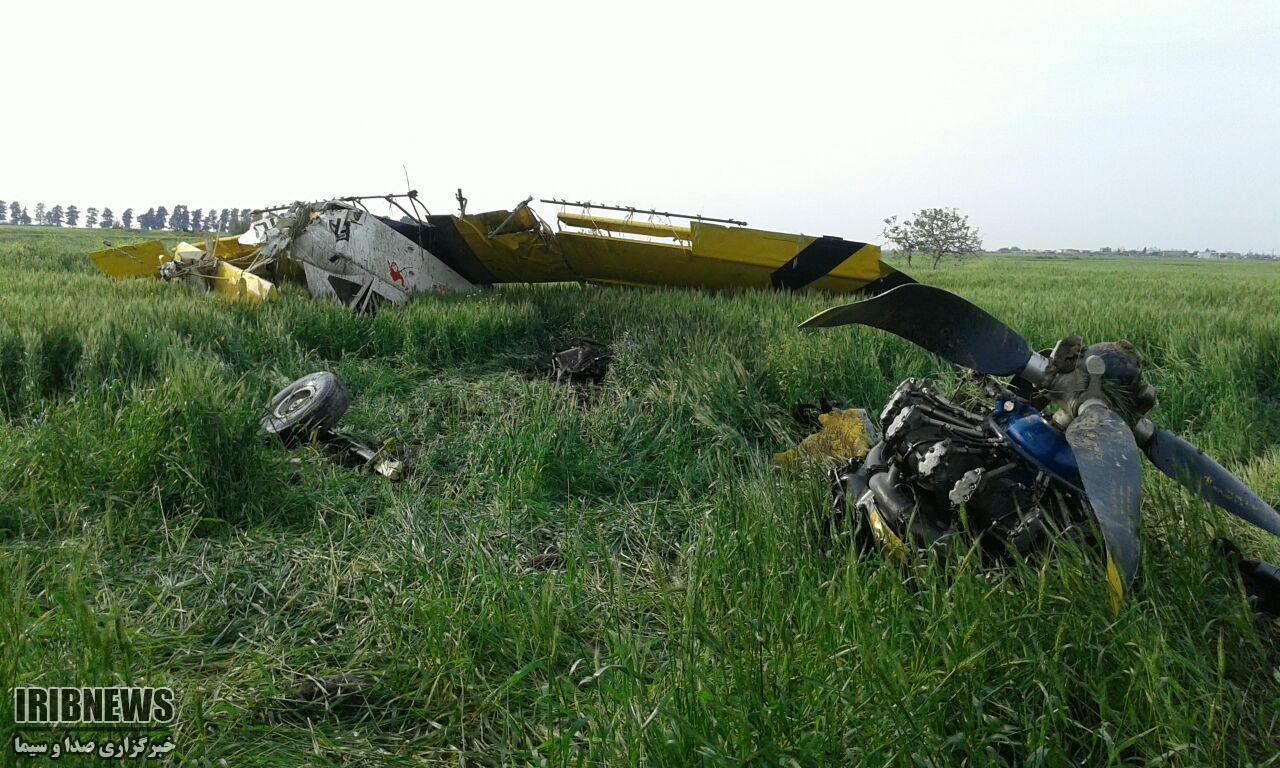 سقوط هواپیمای سمپاش در علی آبادکتول