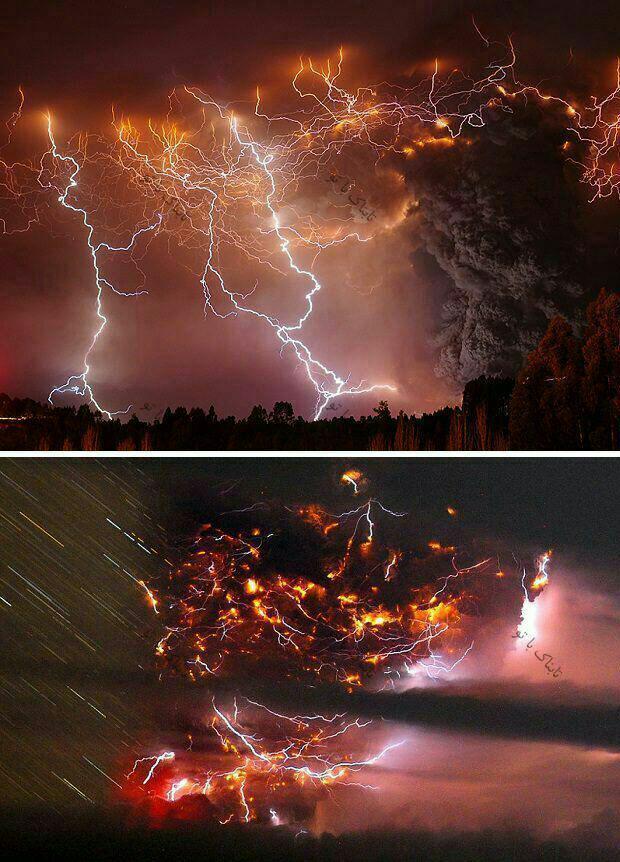 تصویر شگفتانگیز از توفان رعد بر فراز کوه آتشفشان