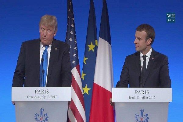 ماکرون: سیاست فرانسه در بحران سوریه تغییر یافته و پیش شرط فرانسه کنار رفتن بشار اسد نیست/ ترامپ؛ در حال تلاش برای برقراری آتش بس در دیگران مناطق سوریه هستیم/ ایران، سوریه و کره شمالی دشمنان بشریت هستند