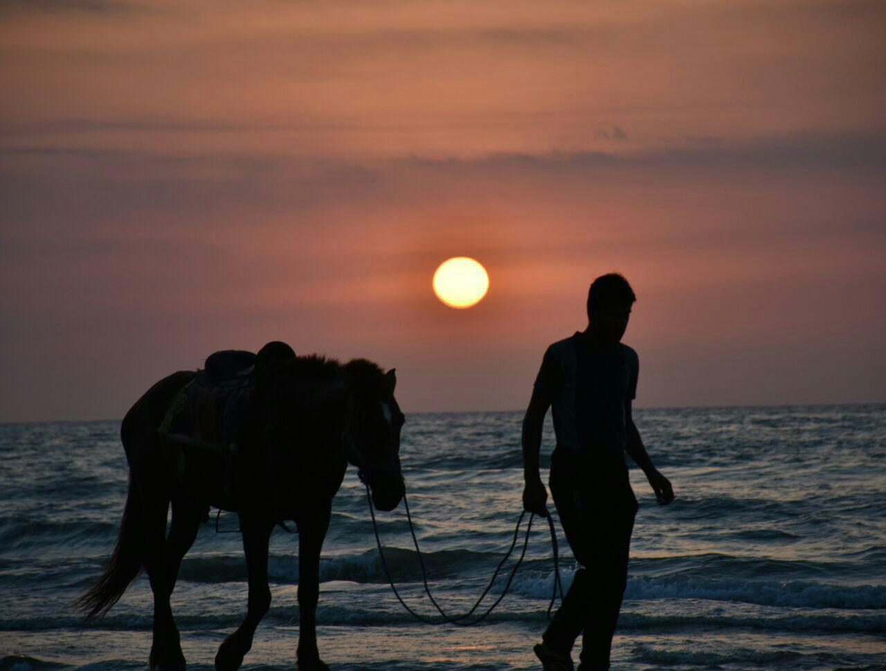 غروب دریا ساحل ایزدشهر