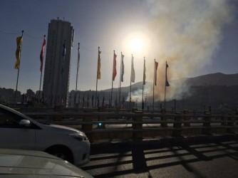 آتش سوزی گسترده در محله اوین تهران