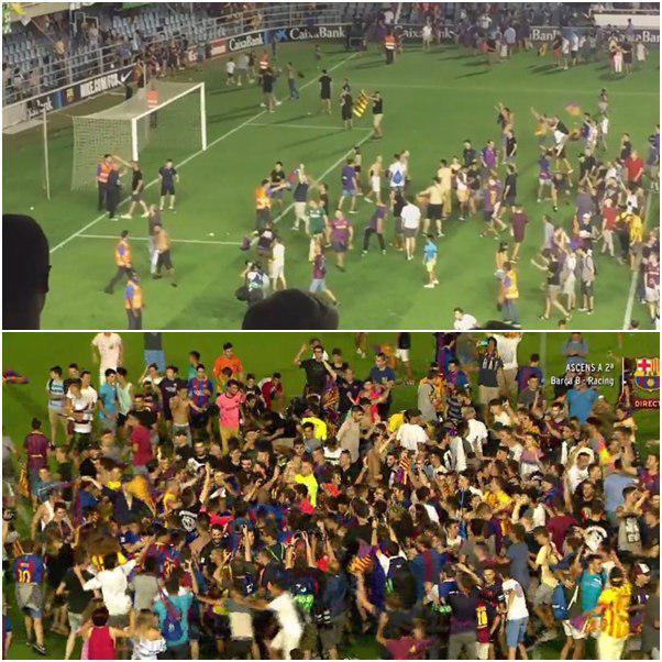 درگیری شدید در بازی بارسلونا و راسینگ