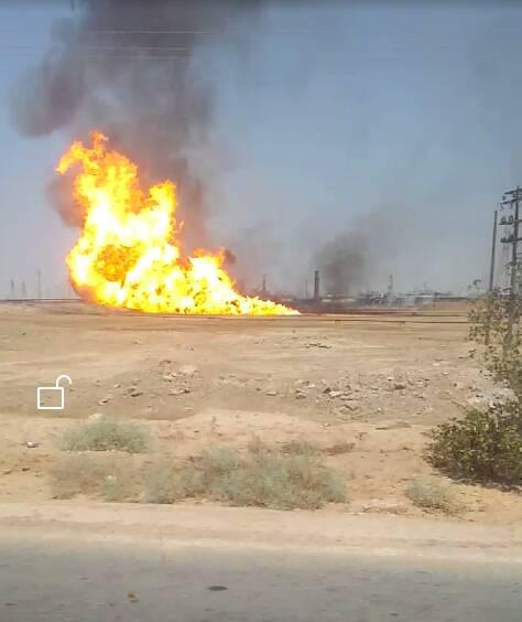 آتش سوزی در حوضچه نفتی کریت کمپ در اهواز