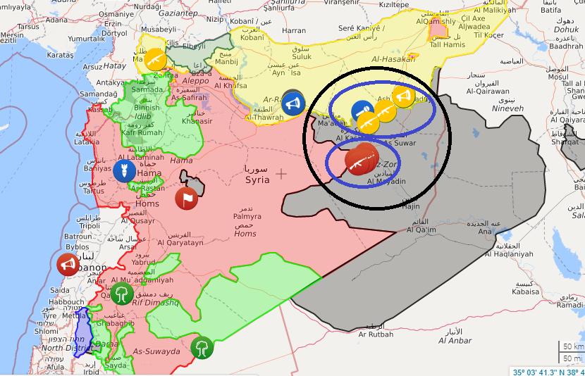 افزایش احتمال برخورد بزرگ ارتش سوریه و گروه های تحت حمایت آمریکا در دیرالزور